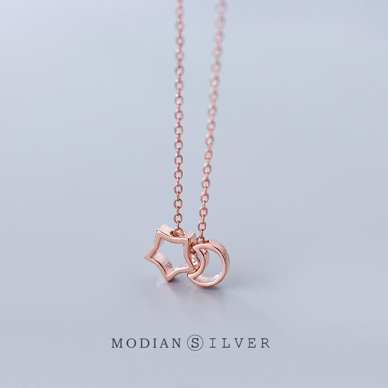 Modian New 100% Real 925 Sterling Silver 3 Color Moon And Star Chain Choker Necklace Pendant for Women Charm Luxury Jewelry