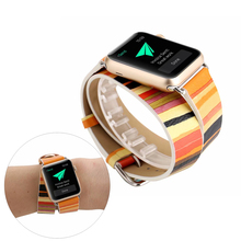 Double Circle Leather Watchband For Apple Watch Series 5 4 3 2 1 Strap Colorful Stripe Bracelet For iWatch Bands 44/40/42/38mm hoco new genuine leather 44 42 40 38mm watchband for apple watch 4 3 2 first layer cattle leather strap bracelet for iwatch