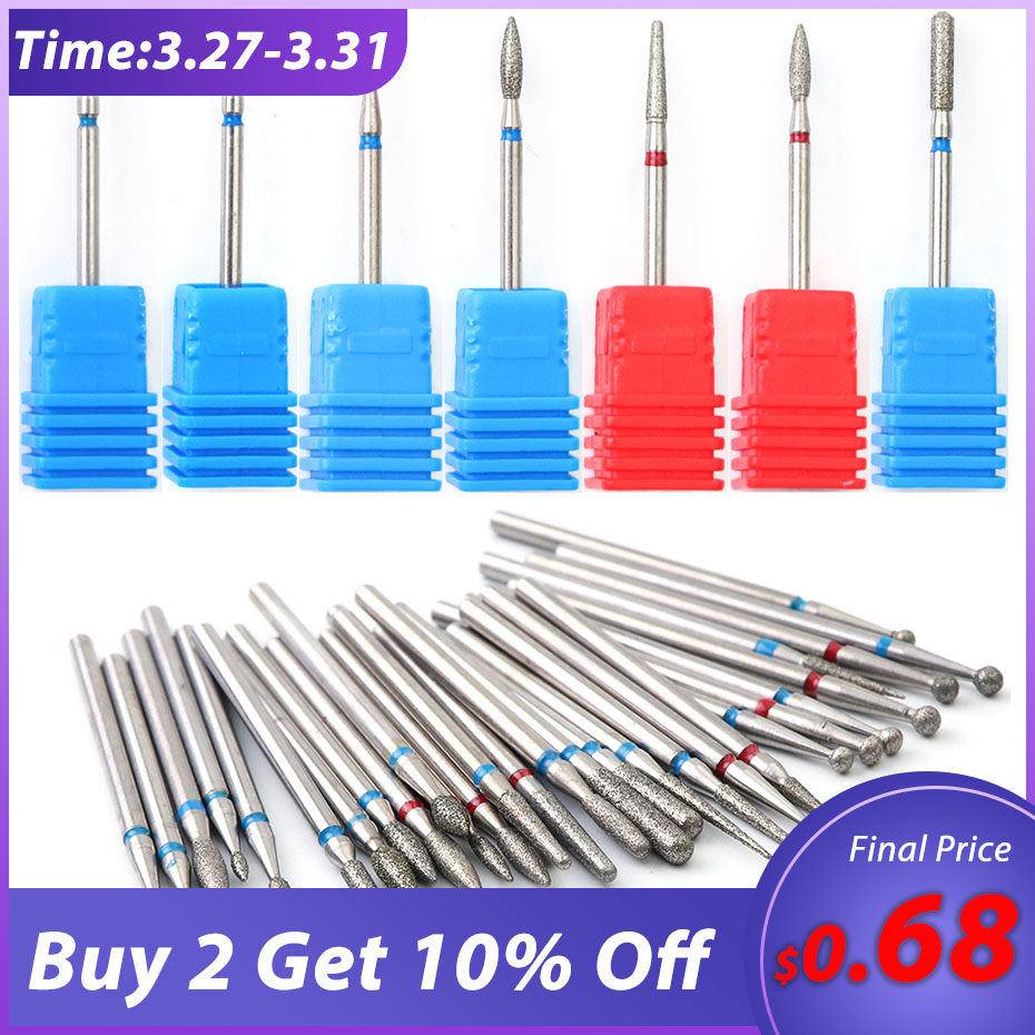 1pcs Diamond Rotate Nail Drill Bits Cuticle Cutter For Manicure Nail Files Electric Milling Burr Grinder Machine Tools BE01-29