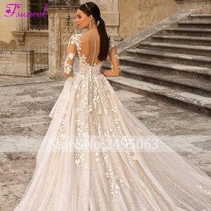 Image 5 - Fsuzwel מדהים אפליקציות הכלה משפט רכבת תחרה אונליין שמלת כלה 2020 מקסים סקופ צוואר חצי שרוול נסיכת כלה שמלה