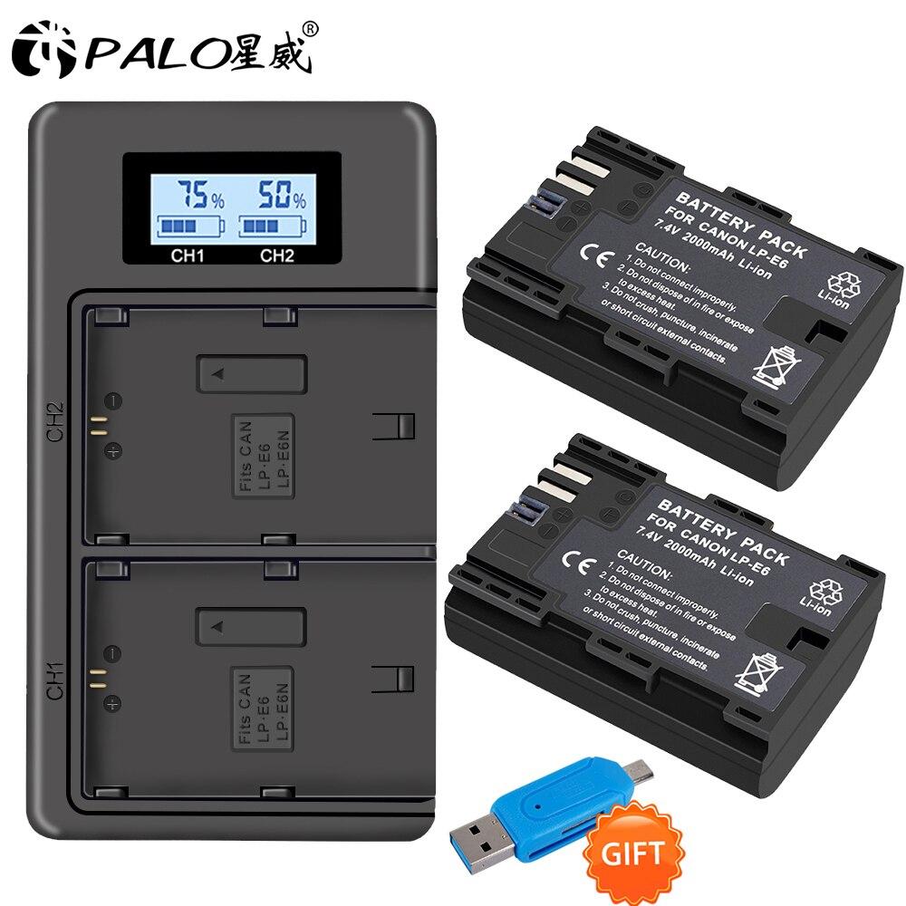 PALO 2pc LP-E6 LP-E6N LP E6 Cellula di Batteria + LCD USB Doppio Caricatore per Canon EOS 6D 7D 5D mark II III IV 5D 60D 60Da 70D 80D 5DS 5DSR