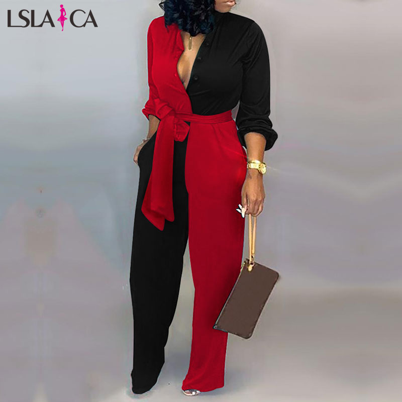 Hot Sale  Bodysuit Women Sexy V-neck Strappy Long Pants Red And Balck Splicing Women Jumpsuit Loose Long Leeve Fashion Jumpsuit