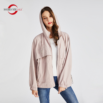 MODERN NEW SAGA 2020 Women Jacket Hooded Autumn Jacket Women Spring Ladies Jackets Fashion Female Jackets Coats Windbreaker Pink fashion skulls ghost devil jackets men women couple funny joker windbreaker windproof thin pocket hooded jacket