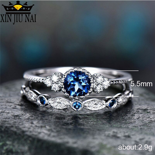 3 Colors Stackable Double Rings Sets For Women 925 Silver Round Green Blue Zircon Stone Engagement Female Birthstone Ring 1