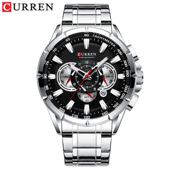 CURREN New Causal Sport Chronograph Men's Watches Stainless Steel Band Wristwatch Big Dial Quartz Clock with Luminous Pointers 12