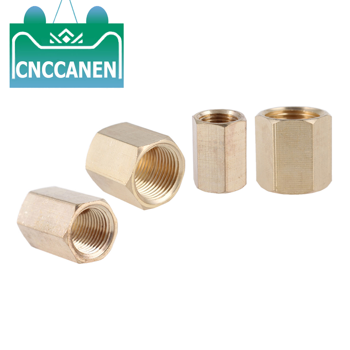 Brass <font><b>Copper</b></font> Hose <font><b>Pipe</b></font> Fitting Hex Nut Rod Coupling Coupler Straight Fast Connetor Female Thread 1/8