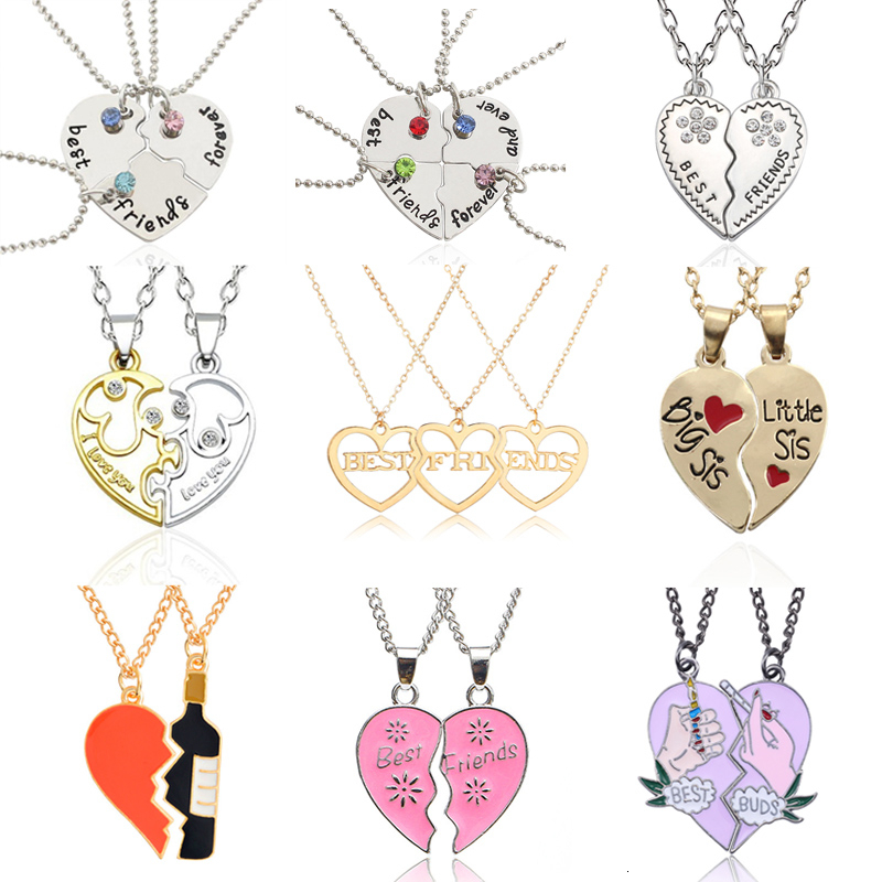 <font><b>3</b></font> PCS/Set Fashion Best <font><b>Friends</b></font> Pendant <font><b>Necklaces</b></font> Charms Broken Heart <font><b>Necklace</b></font> Rhinestone Choker Statement <font><b>Necklace</b></font> <font><b>BFF</b></font> Jewelry image