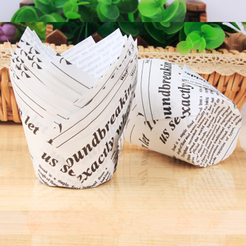 Купить 50 шт подложка для кексов в газете чашка выпечки свадебной вечеринки