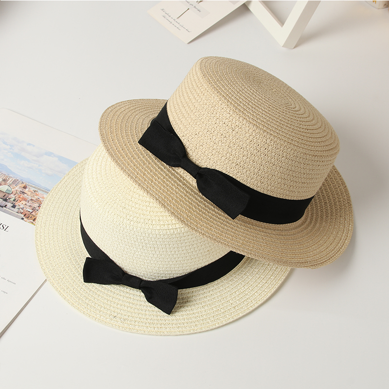 Straw Hat Women Summer Hat Beach Ladies Casual Flat Brom Bowknot Panama Hat Breathable Fashion Sun Hats For Women