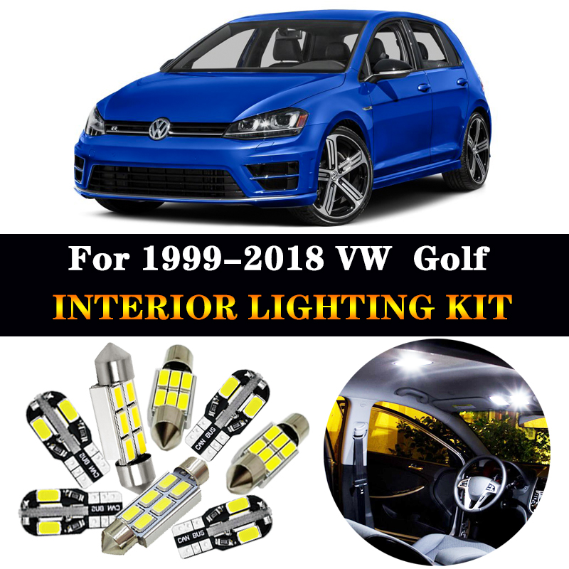 White Error Free Car Accessories Interior LED Light Bulbs Package Kit For 1999-2018 VW For Golf 4 5 6 7 MK4 MK5 MK6 MK7 image