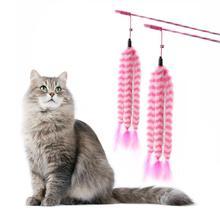 Śmieszny kijek dla kota trzy pluszowe interaktywne różdżki dla kota z dzwonkiem i piórami zabawka dla kota tanie tanio OLOEY Pióro zabawki