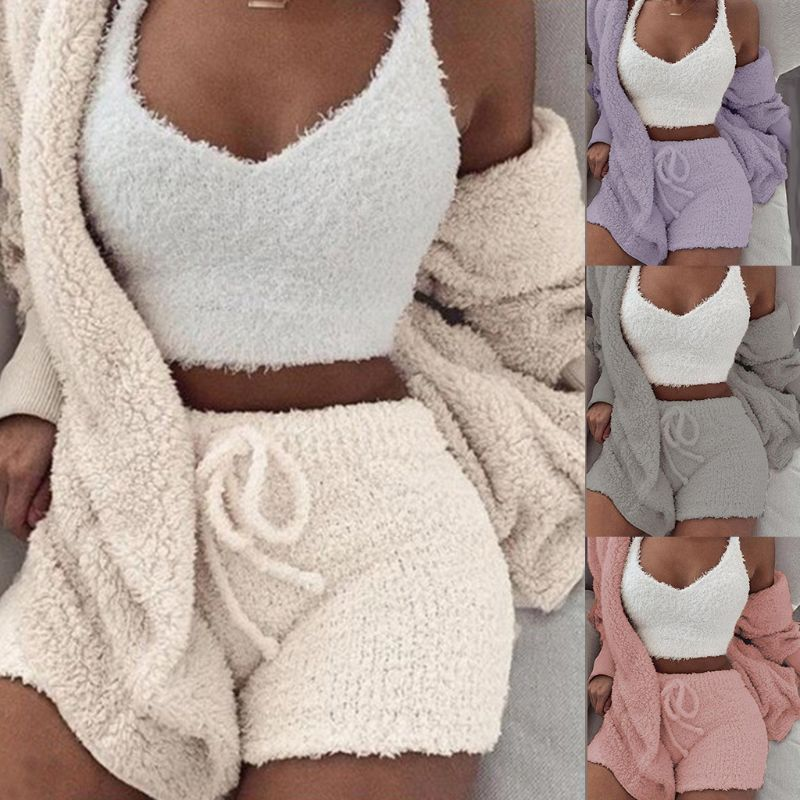 3 Pcs/set Winter Sexy Women Home Wear Suit Casual Pajamas Long Sleeve Exposed Navel Vest Shorts Set