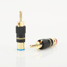 4pcs 24K gold Plated Banana Speaker Plug Screw Lock 10mm Cable Wire Connector