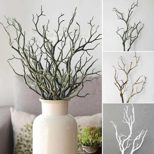 1pc 35cm Dry Artificial Fake Foliage Plant Tree Branch Wedding Home Church Office Furniture Decoration Peacock Coral Branches