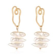 Pendant earrings Geometry Freshwater Pearl Earrings Gold Wedding 1 pair Metal Geometric Gifts Pearl Gold earrings цена в Москве и Питере