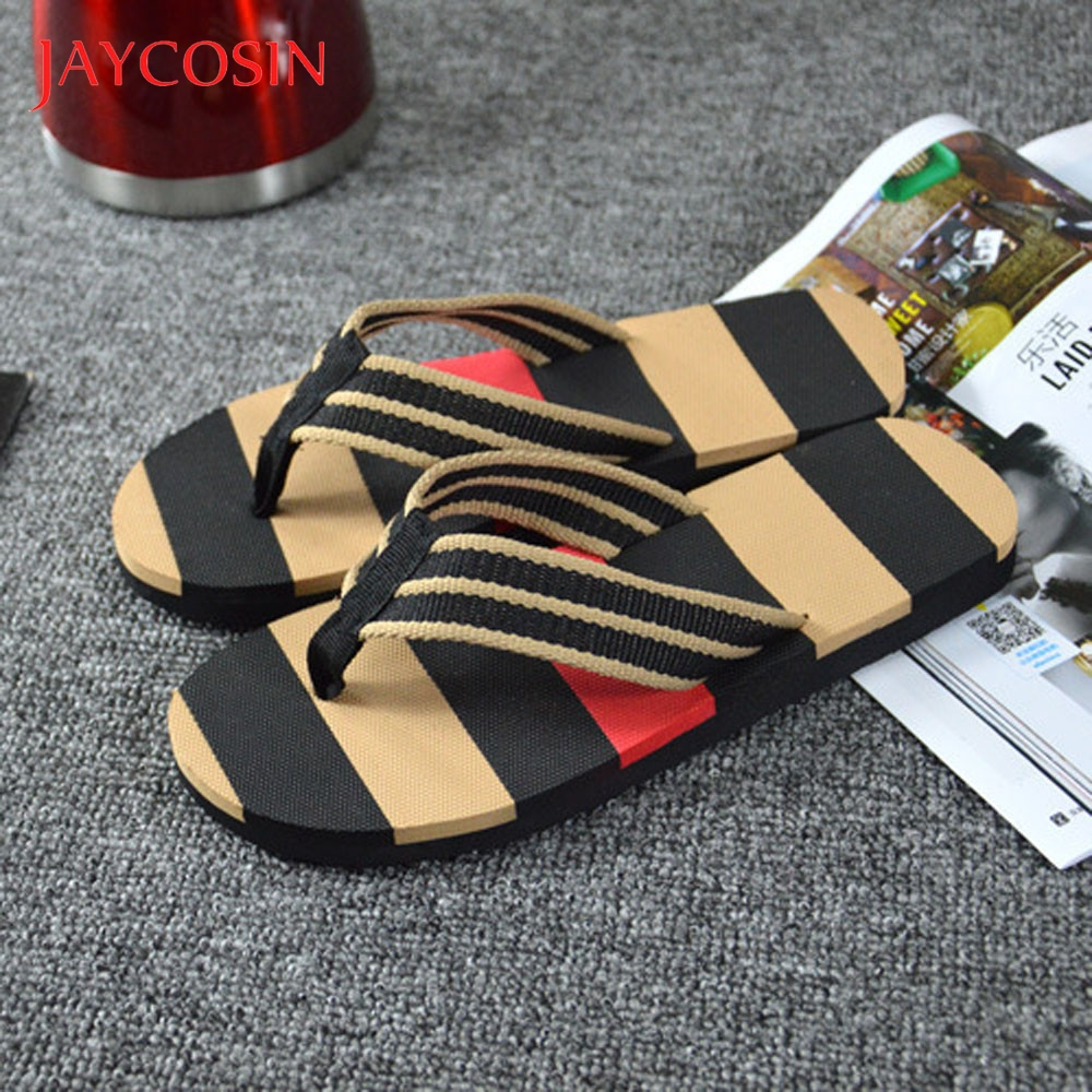 JAYCOSIN Sandals Men Shoes Summer Platform Stripe Beach Flip Flops Shoes Sandals Male Slipper Summer zapatos de hombre sandalia 1