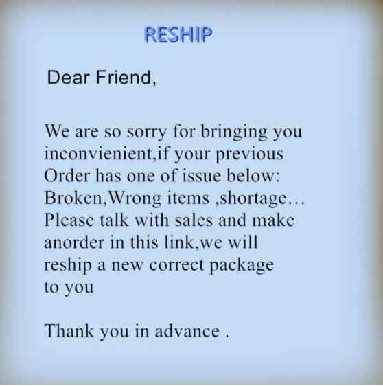 Ce lien est uniquement pour le client qui reçoit la commande défectueuse et a affaire avec le vendeur pour envoyer un remplacement