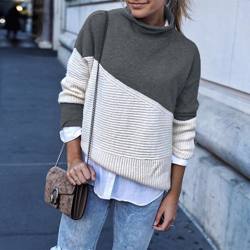 Fashion Women Patchwork Turtleneck Pullover Women Long Sleeve Knit Sweates Autumn Winter Loose Sweatsers in Pullovers from Women 39 s Clothing