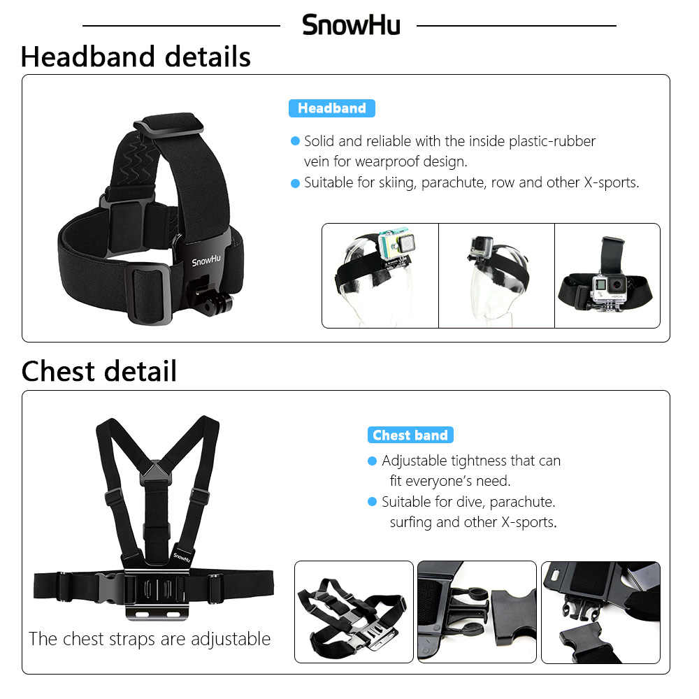 SnowHu for Gopro Accessories Set for go pro hero 8 7 6 5 4 3 kit 3 way selfie stick for sjcam for xiaomi for yi EVA case GS21
