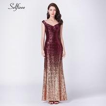 New Gold Sequin Dress Long Elegant Off The Shoulder V Neck Sequined Women Party Dress Sexy Club Dress Vestido Largo De Fiesta