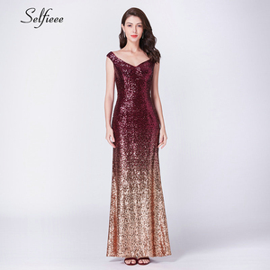 Image 1 - New Gold Sequin Dress Long Elegant Off The Shoulder V Neck Sequined Women Party Dress Sexy Club Dress Vestido Largo De Fiesta