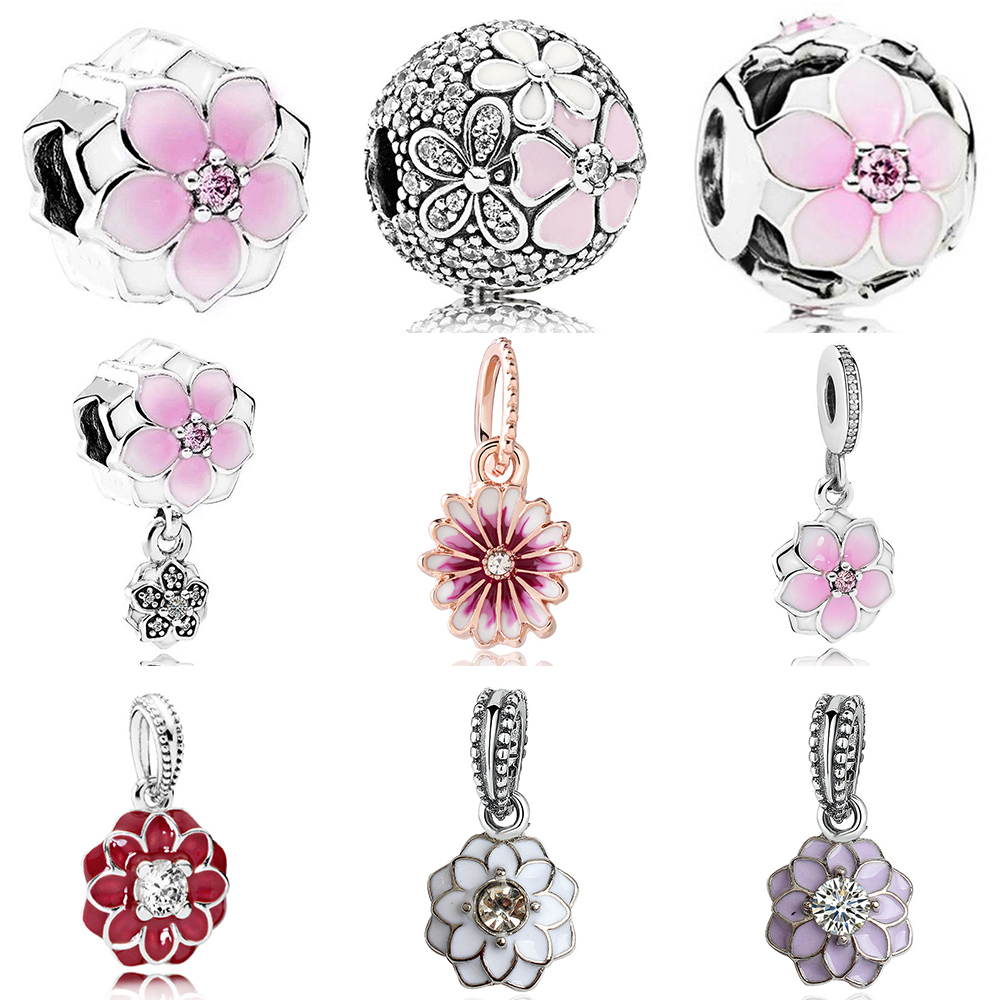 Rose flower and daisy Pink flower beads pendant bangle fit original pandora charms bracelet diy jewelry making for women gift(China)