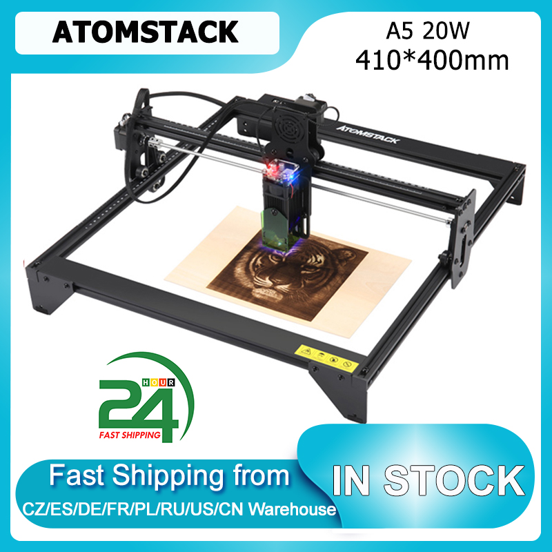 ATOMSTACK A5 20W Laser Engraver CNC 410*400mm Carving Area DIY Engraving Cutting Machine Fixed-focus Laser Precise Scale Lines
