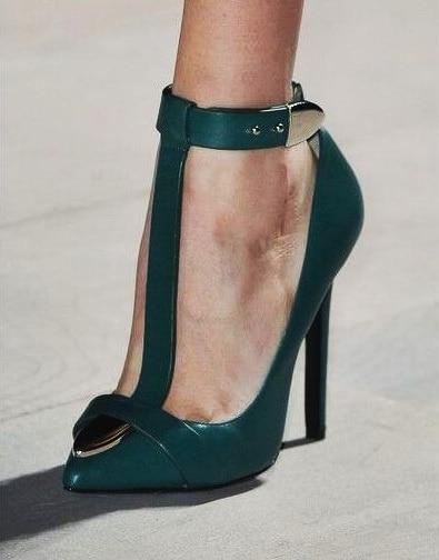 Metallick T Strap escarpins à talons aiguilles bout pointu mince chaussures à talons hauts femme