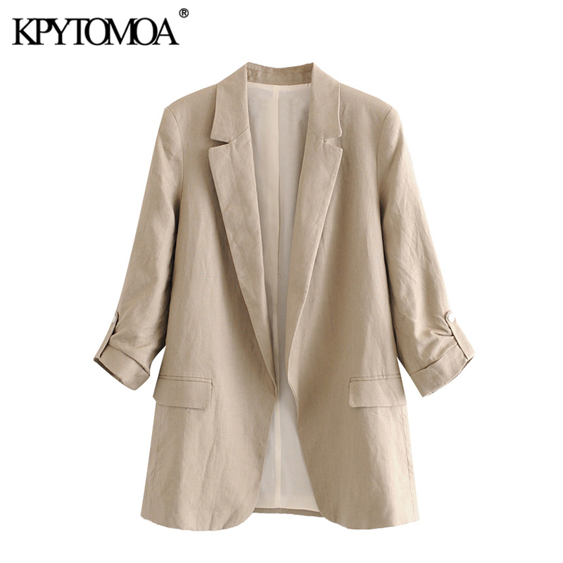 KPYTOMOA Women 2020 Fashion Office Wear Linen Blazer Coat Vintage Rolled Up Sleeve Pockets Female Outerwear Chic Tops