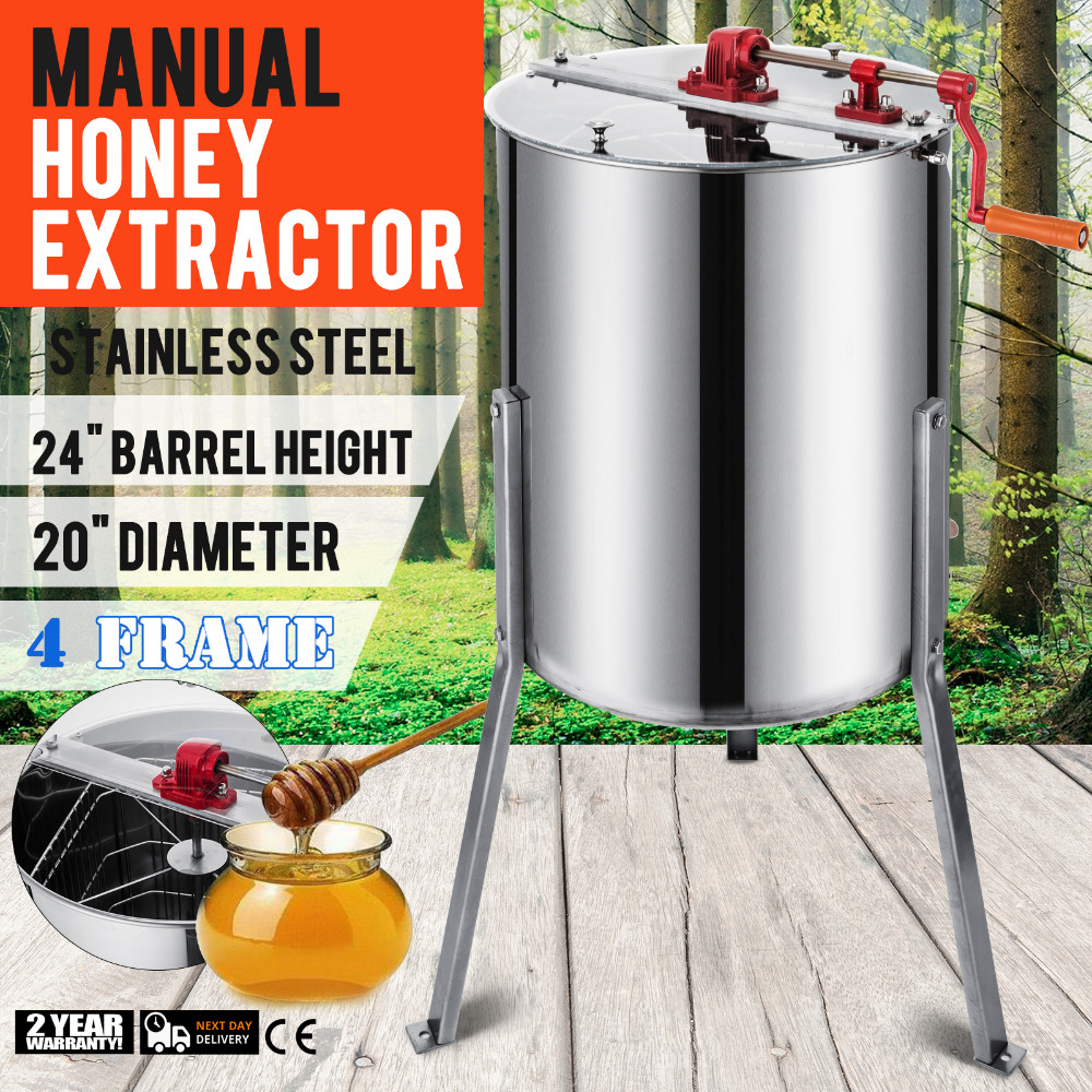 Manual Honey Extractor 4 Frame Bee Extractor Stainless Steel Honey Spinner With Stand Beekeeping Equipment
