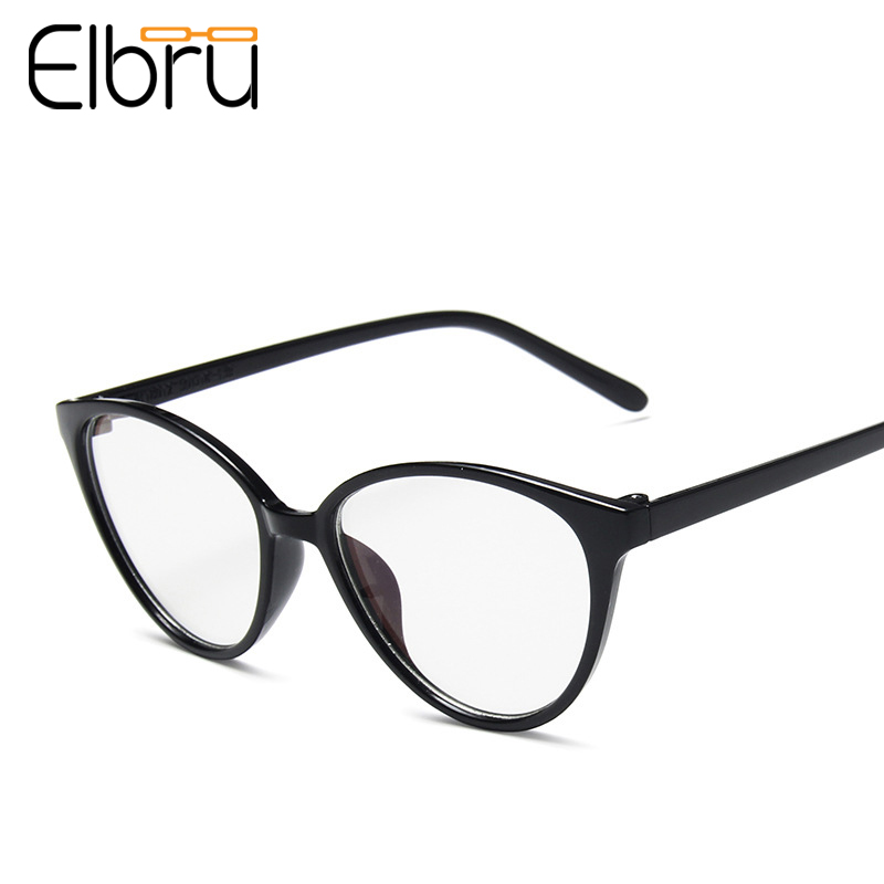 Elbru Ultralight Anti-blue Light Cat Eye Glasses Frame Women&Men Transparent Frame Optical Computer Glasses