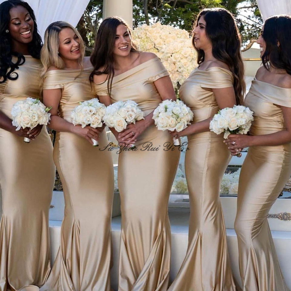 Golden Off The Shoulder Bridesmaid Dresses Mermaid Wedding Party Gowns Lace Up Back Spandex Satin Vestido Dama De Honor