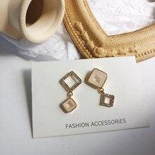 New Asymmetrical Square Resin Earrings Women Fashion Korean Temperament Crystal Jewelry Best Gift