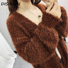 fall long sleeve cardigan women new v neck plus size  pink high quality fuzzy sweater open breast knitted sweater woman clothes fuzzy cropped sweater