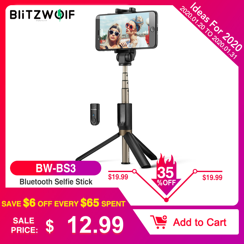 BlitzWolf BS3 Universal Sem Fio bluetooth Selfie Stick Mini Tripé Extensível Dobrável Monopod Live Stream Travel Para iPhone 11 Pro X XR 8 Para Samsung Xiaomi 9 Huawei P30 Pro Smart Phone