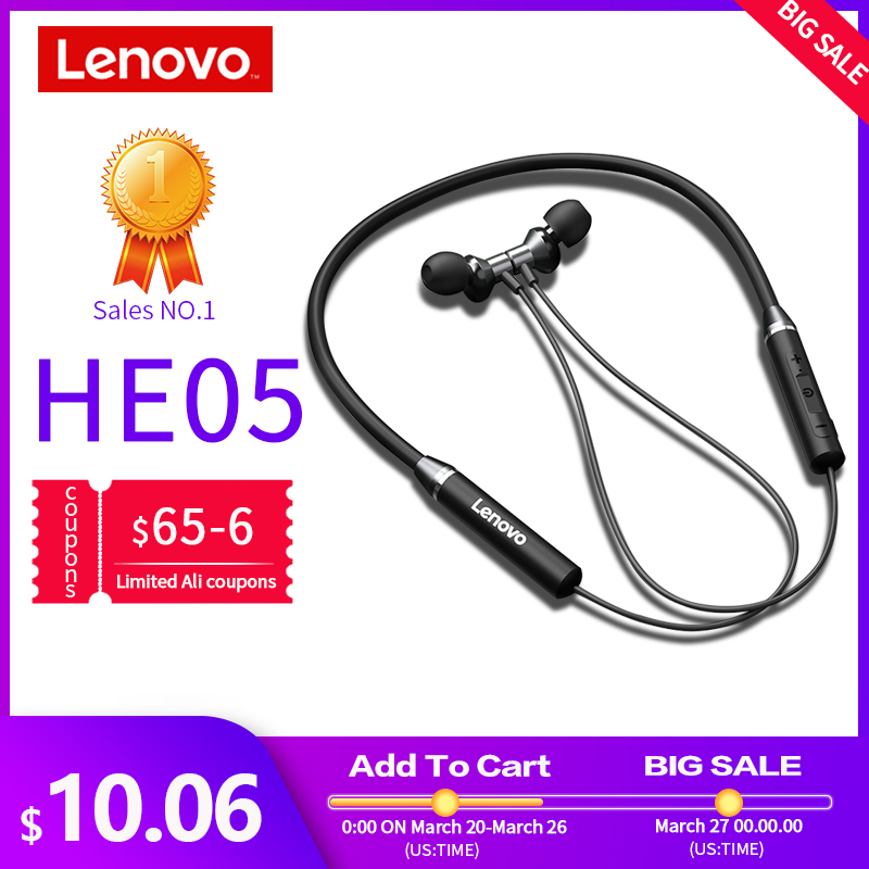 Lenovo Earphone Bluetooth5.0 Wireless Headset Magnetic Neckband Earphones IPX5 Waterproof Sport Earbud with Noise Cancelling Mic|Bluetooth Earphones & Headphones| |  - AliExpress