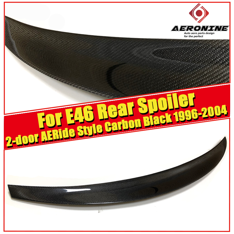 For BMW E46 Rear tail Spoiler Wing Ride style Carbon fiber 318i 320i 325i 328i 330 330xi 2Door Trunk Spoiler Lip Wings 1996-2004 image