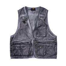 Vintage Denim Vests Men High Street Functional Cargo Vests Outwear Batik Jean Jacket Hip Hop Multi-pocket Tactical Vest Oversize