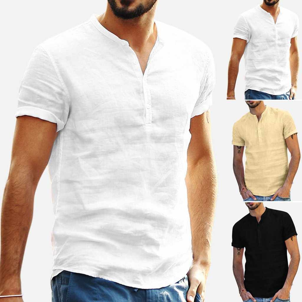 Mens Solid Color Loose Cotton Linen Shirt Buttons Simple Casual Short Sleeve Shirt Office Breathable Comfort Tops Gomlek#D