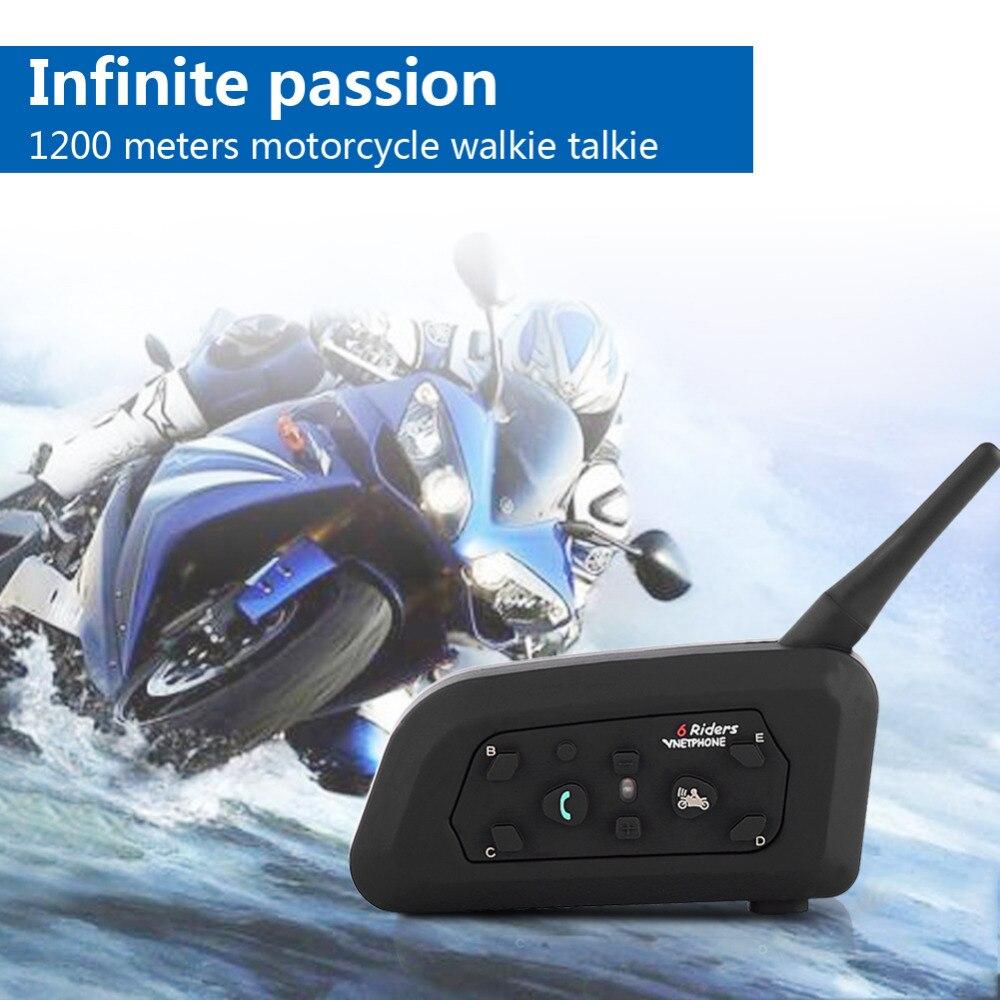 1x Bluetooth Мотоциклетный мотоциклетный шлем Переговорная гарнитура V6 1200 м 6 всадников - 2