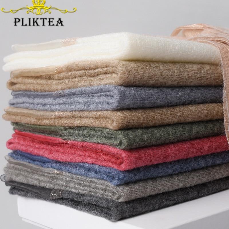 60%Mohair 25%Silk 10%Wool 5%Gold Thread High Quality Winter Female Spring Hajib Scarf Wrap Women's 2020 Patchwork Scarves Shawl