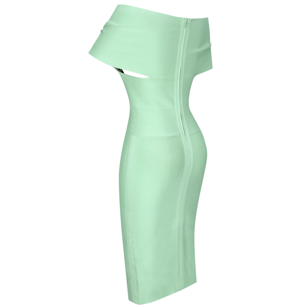 Draped Green Slash Neck Bandage Dress