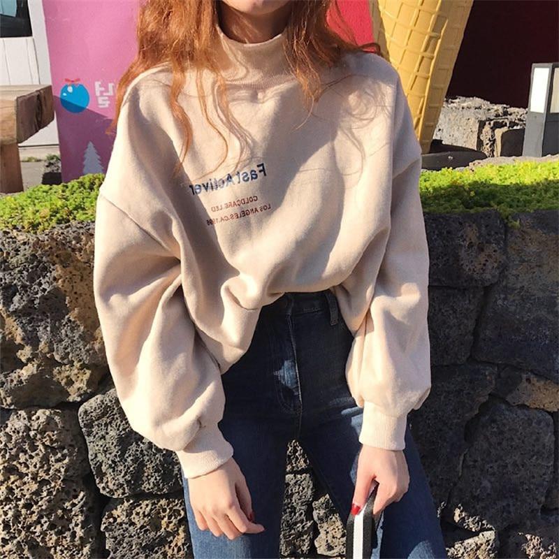 Harajuku Sweatshirt Women Oversized Hoodie Autumn Elastic Cuff Hem Turtleneck Pullover Fashion Casual Street Sweatshirts Female