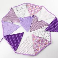 Милые баннеры из хлопчатобумажной ткани фиолетовая серия, персональные Свадебные флаги, розовые винтажные вечерние украшения для детского шоу