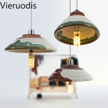 Luz con pendiente de cerámica Retro colgando de la lámpara para la cocina salón restaurante interior decoración de loft iluminación suspensión luminaria