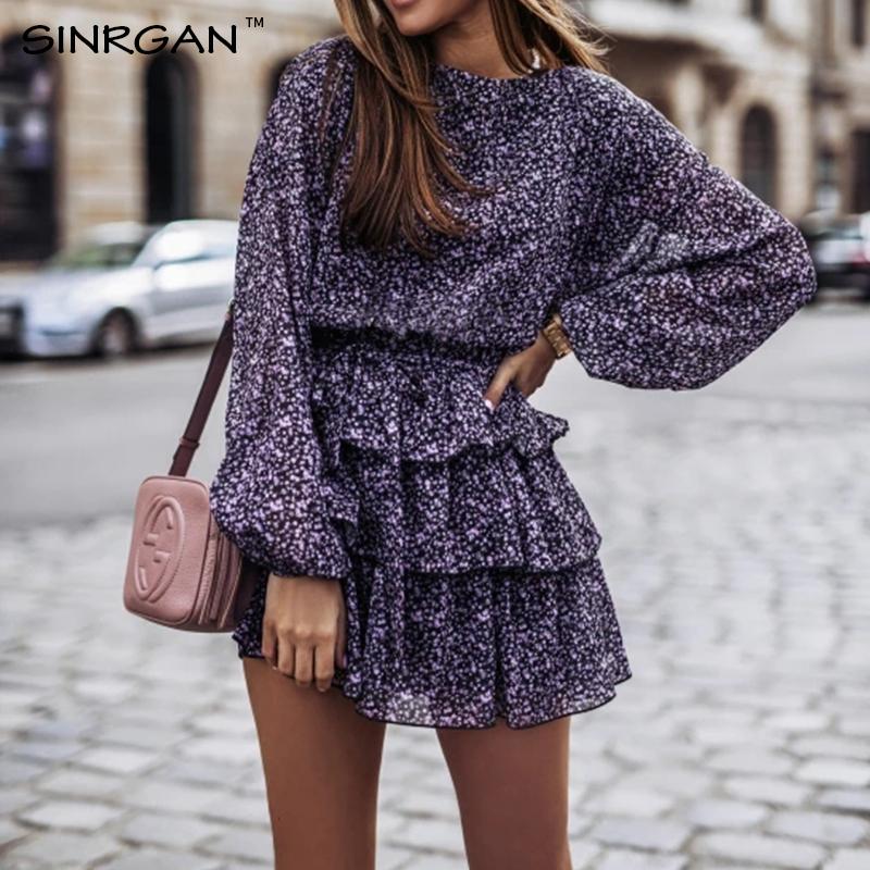 NANKEY Women Floral Print Dress Elegant Lantern Sleeve Casual Ruffles Dress Office Lady Purple Black Dress Mini Party Vestidos