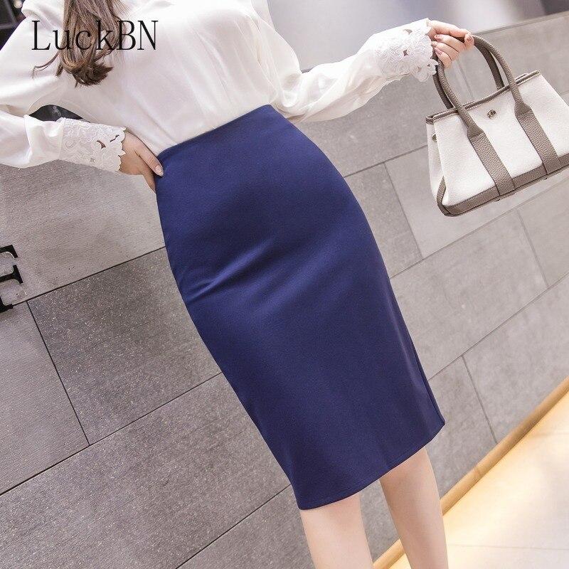 Large Size High Waist Elastic Pencil Skirt Female Bodycon Skirts Womens Autumn Winter Knee Length Back Split Ladies Office Saia