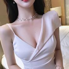 Летнее Новое корейское женское платье на бретельках с низким