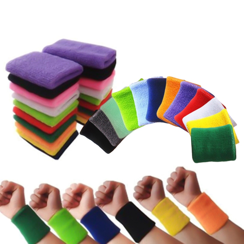 Quality Cotton Wristbands Prevent Sweating Solid Color Wrist Band Bands Sweatbands Unisex Sweat Band For Sport Tennis