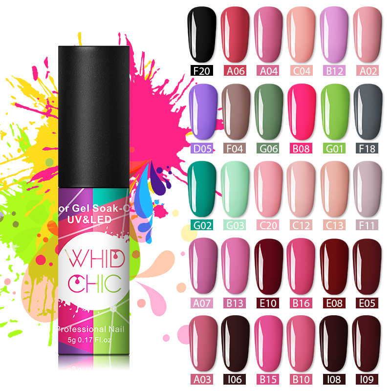 WHID CHIC UV Gel Nail Polish Lacquer Holographic Sequins Glitter Pure Nail Color Soak Off Polish Nail Art Polish Gel Varnish 5ml